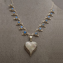 Load image into Gallery viewer, Heart shaped silver mother of pearl pendant on silver labradorite necklace