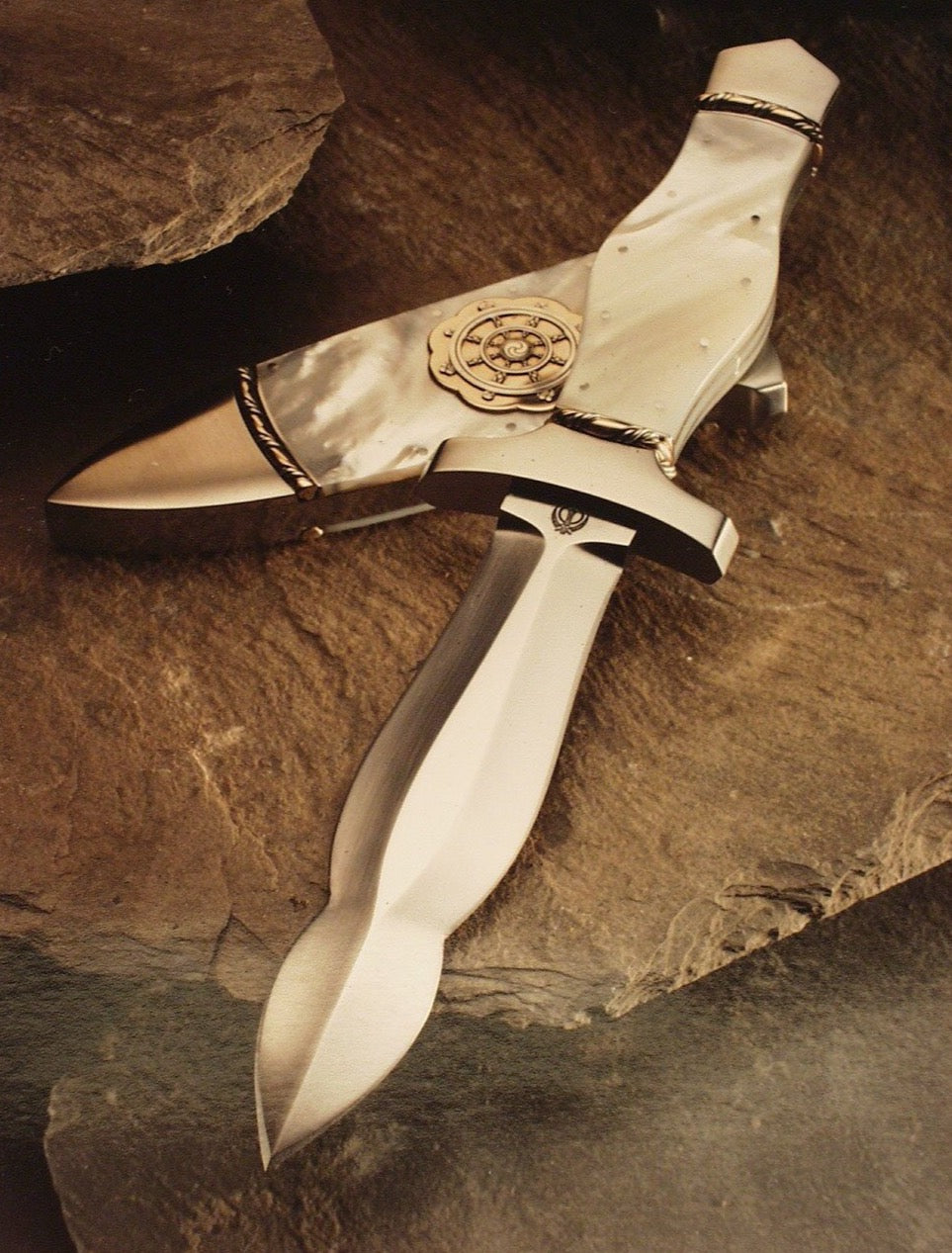 Mother of pearl handled dagger & scabbard