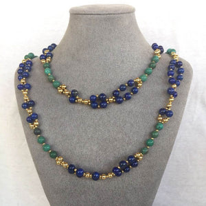 Turquoise, Lapis and 24K Gold-filled Bead Tantric Necklace