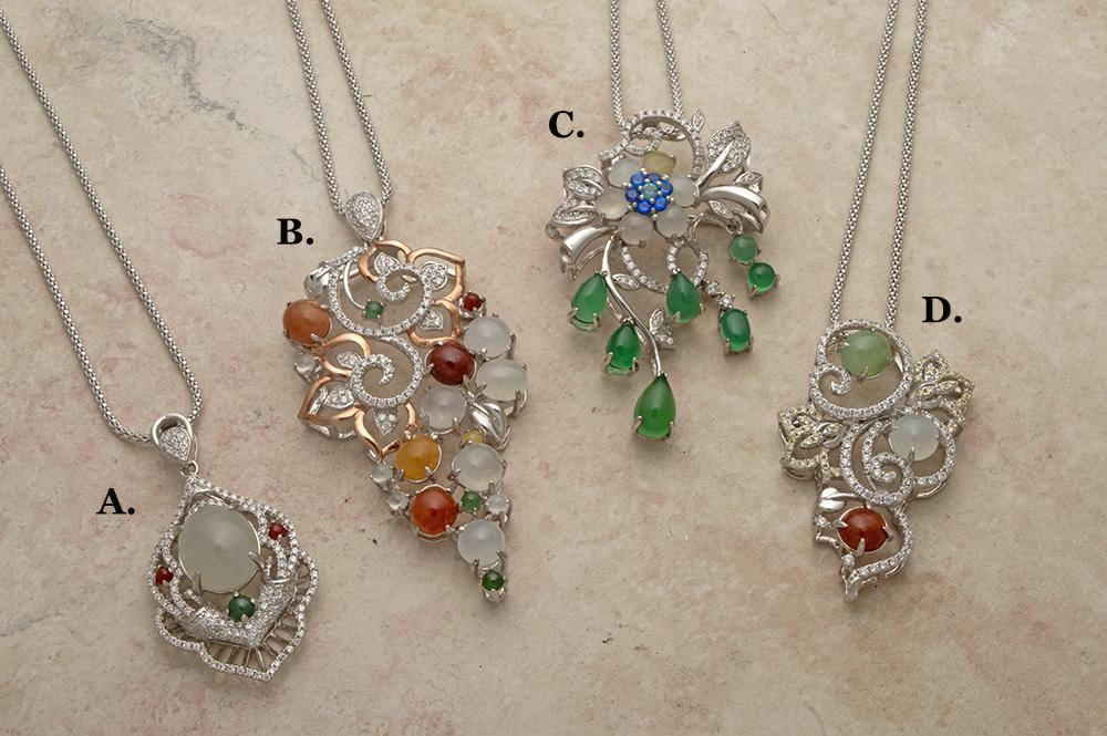 Elegant silver, jade and cubic zirconia pendants on chains