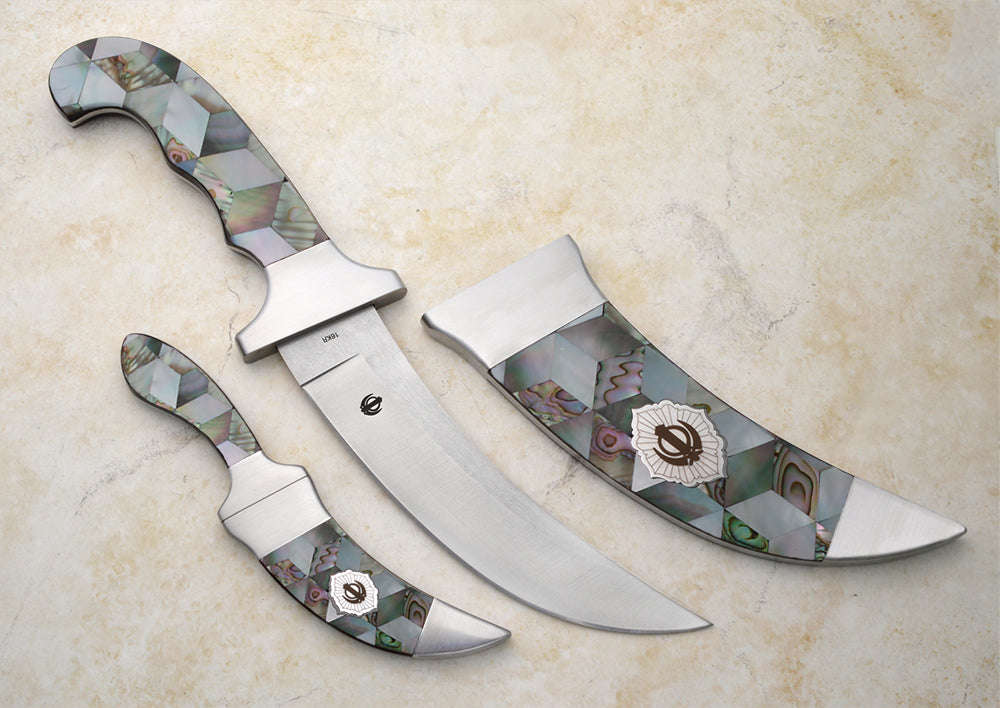 Large Mosaic Mother of Pearl Kirpans / 2 colors @30% off