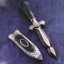 Load image into Gallery viewer, Engraved jade handled boot knife and matching scabbard2