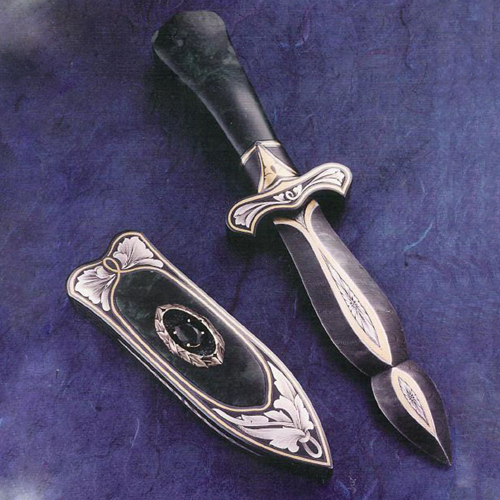 Engraved jade handled boot knife and matching scabbard2