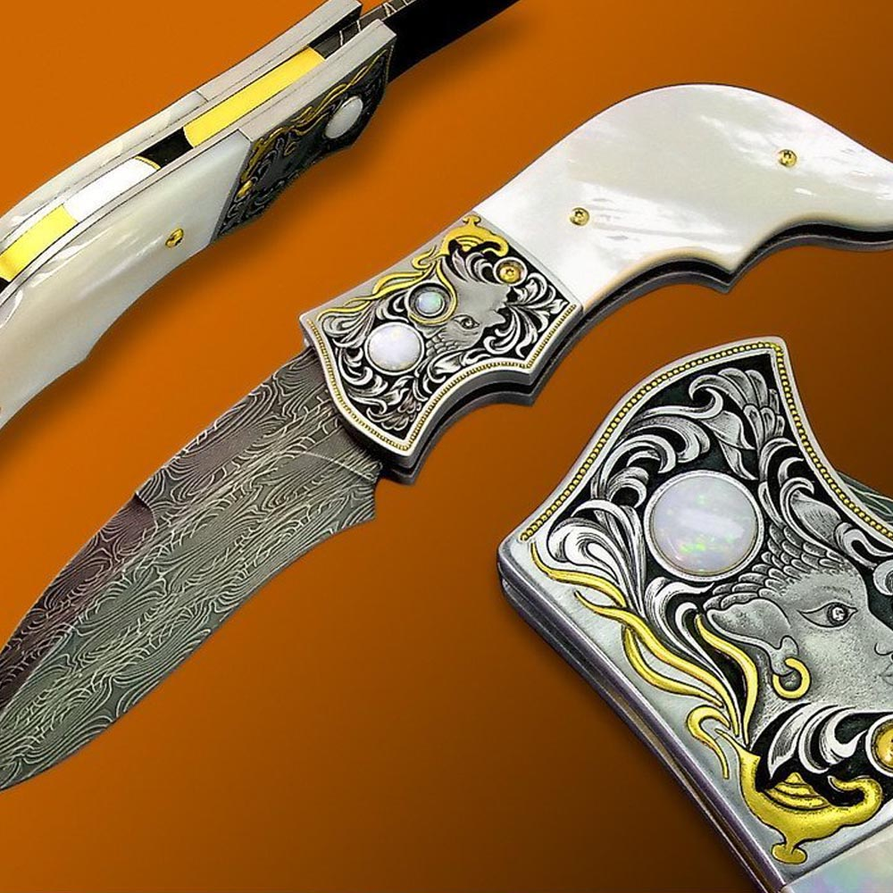 Mother of pearl handled button lock folding knife