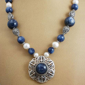 Kyanite, pearl and silver Adi Shakti Talisman necklace