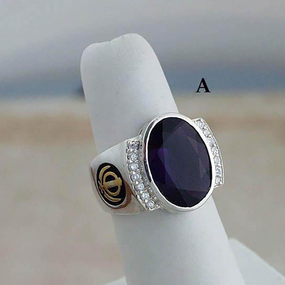Silver rings with gemstones, diamonds and gold adi shaktis