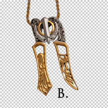 Load image into Gallery viewer, Two-tone steel Khanda and Kirpan pendants on chains