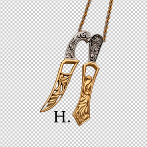 Two-tone steel Khanda and Kirpan pendants on chains