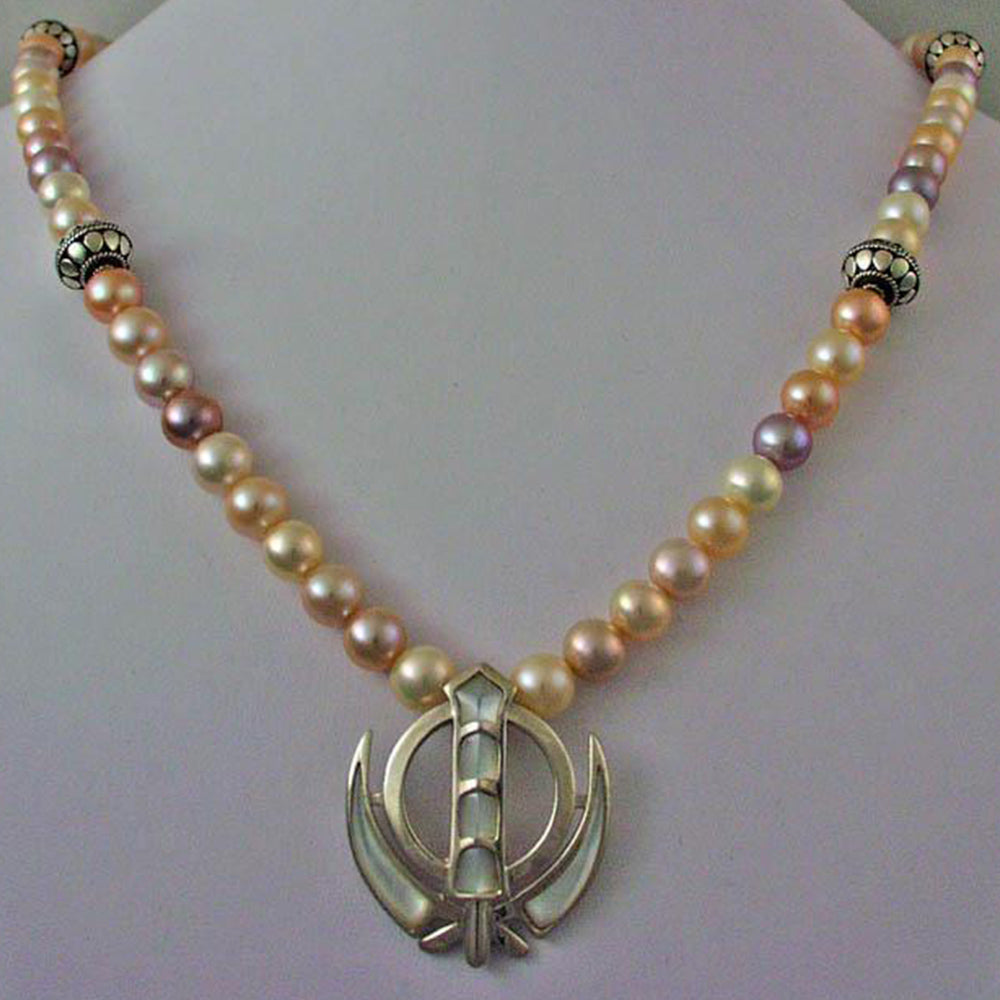 Silver pearl adi shakti necklace