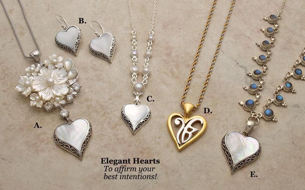 Silver pearl gemstone, heart-shaped pendants & earrings