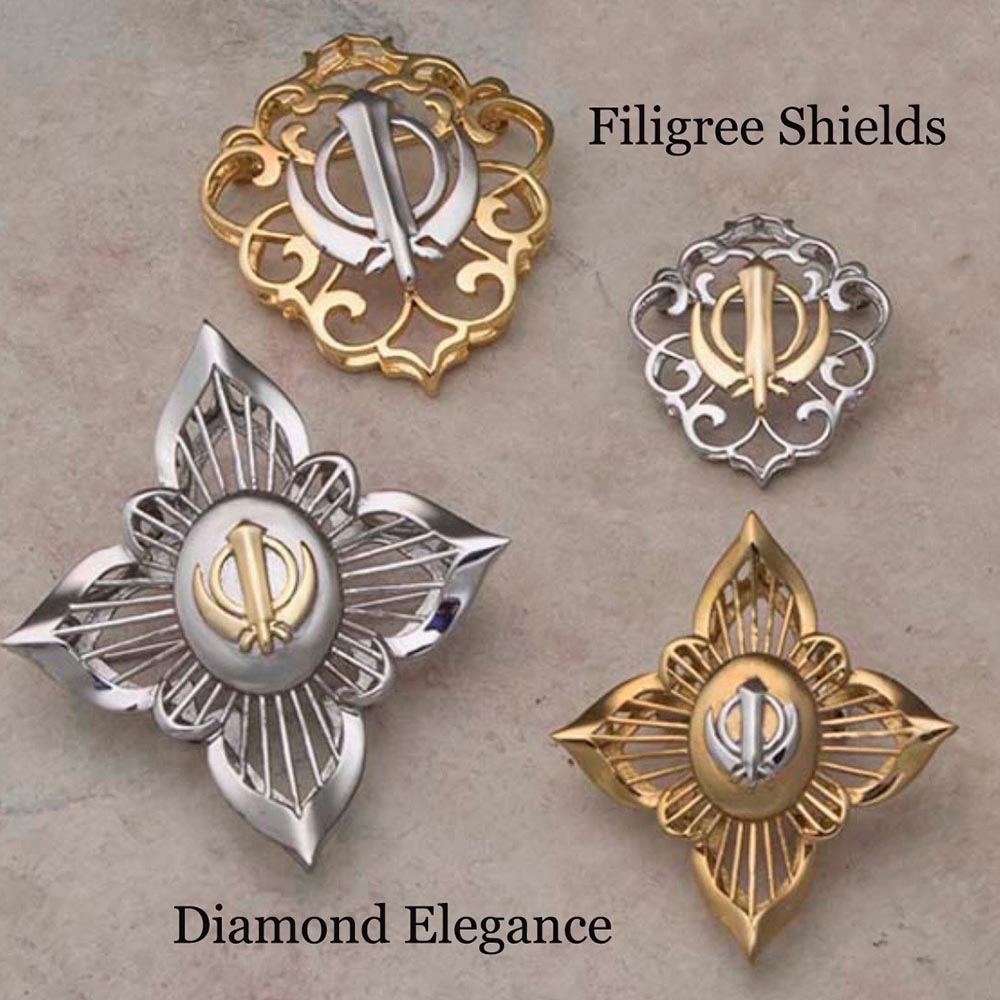 Stainless Steel Filigree Khanda / Adi Shakti Shields and Diamond Elegance Adi Shaktis