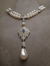 Load image into Gallery viewer, Pearl ruby / sapphire cubic zirconia silver necklace