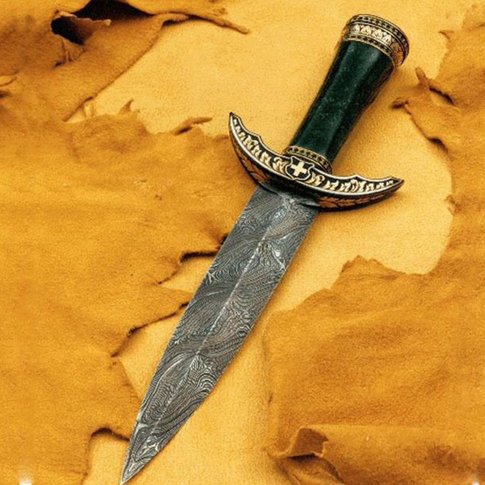 Engraved jade handled dagger