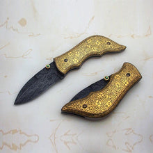 Load image into Gallery viewer, 24K Gold Koftgari Folding Knife