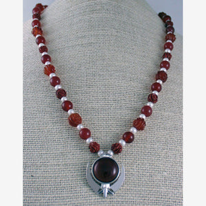 Carnelian, jasper, pearl and silver khanda / adi shakti necklace