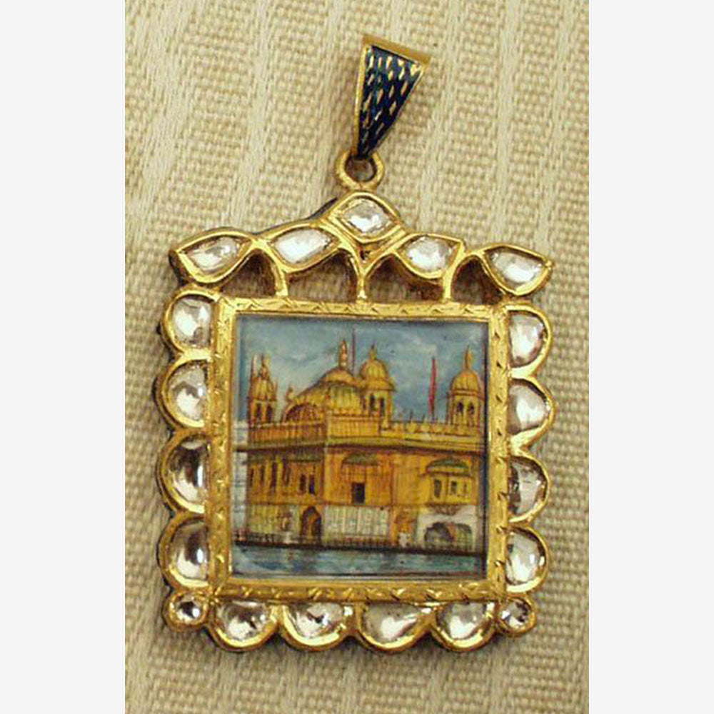 22K Gold Square Portrait of the Golden Temple with diamonds