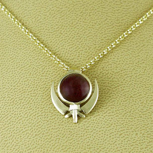 Ruby gold khanda / adi shakti pendant and chain
