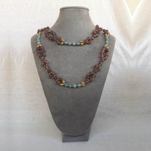 Strawberry Quartz, Microcline, and 24K Gold-filled Bead Tantric Necklace