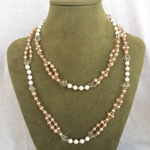 Pearl, Quartz Crystal, Tridacna and 18K Gold-filled Bead Tantric Necklace