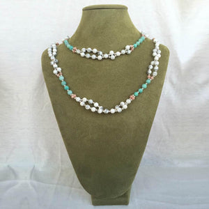 Tridacna, Rhodochrosite, Microcline and Sterling Silver Bead Tantric Necklace