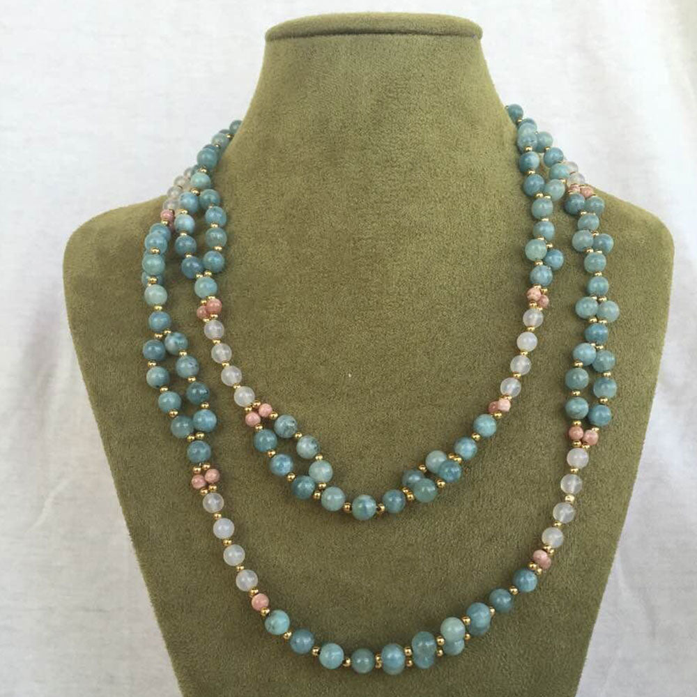 Rhodochrosite, Agate, Aquamarine and 18K Gold-filled Bead Tantric Necklace