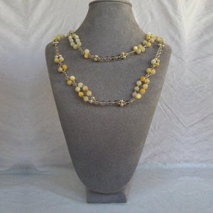 Gold Tridacna, Microcline, Quartz Crystal, Strawberry Quartz, and Solid Silver Bead Tantric Necklace