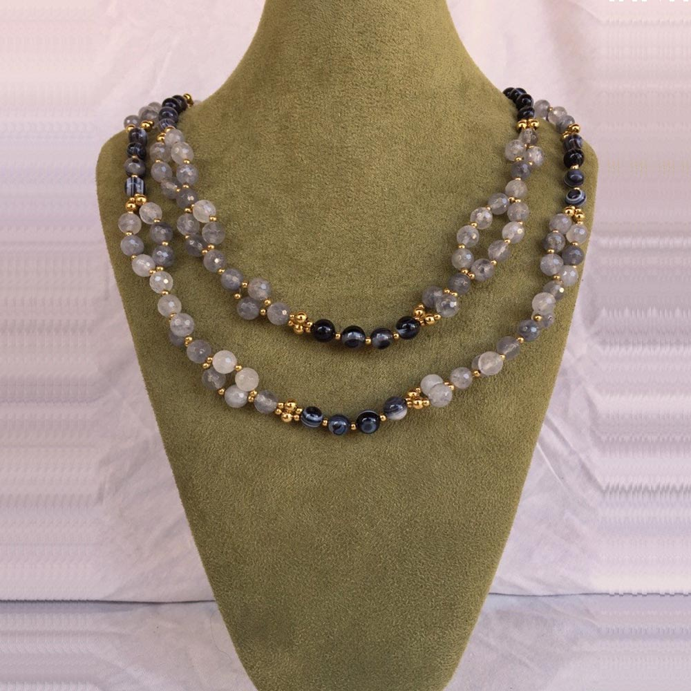 Smoky Quartz, Agate, Quartz Crystal and 24K Gold-filled Bead Tantric Necklace