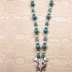 Turquoise and pearl silver double axe khanda / adi shakti necklace