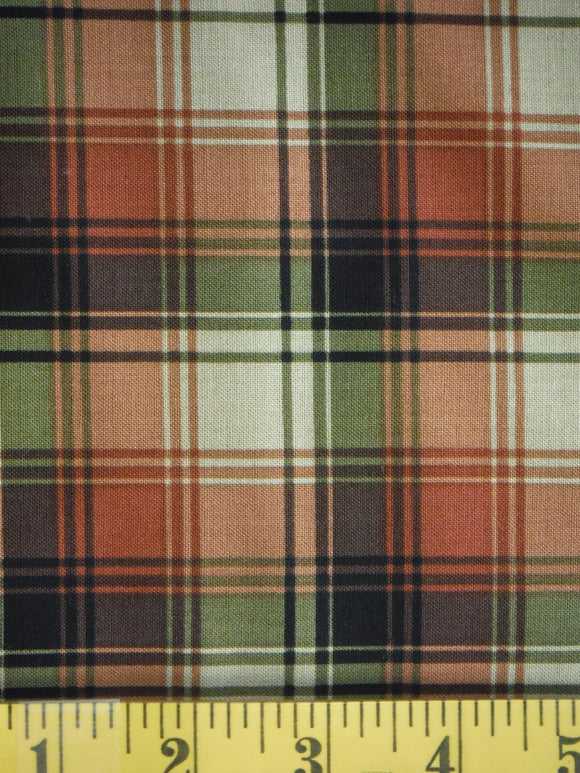 Red and green plaid on a beige background
