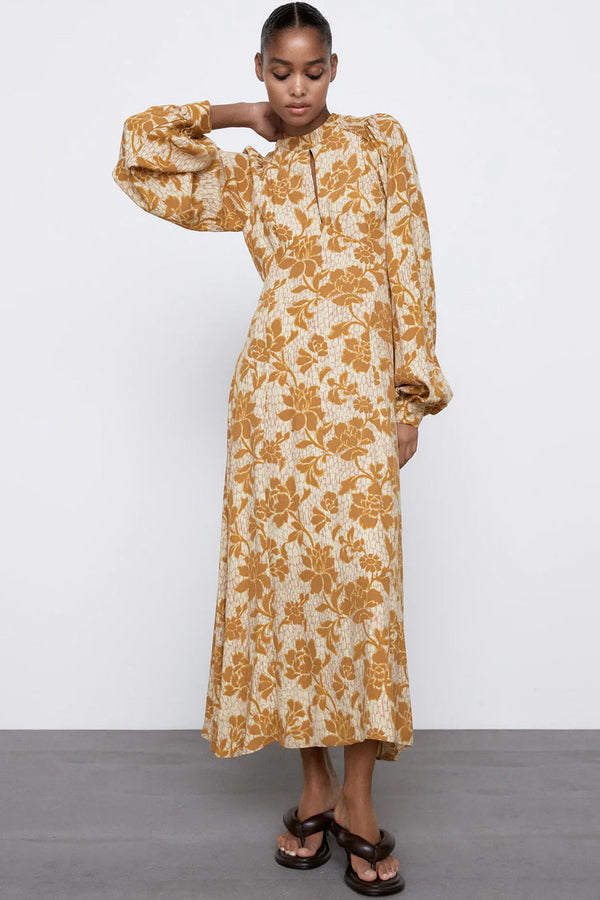 Backless Floral Print Bishop Sleeve Midi Dress - Yellow