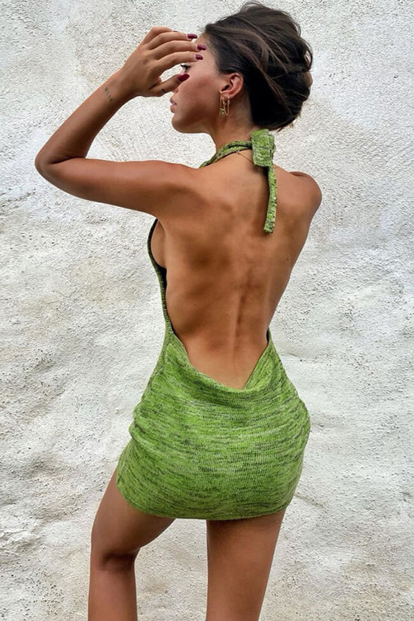 Backless Halter Sweater Mini Beach Vacation Dress - Green