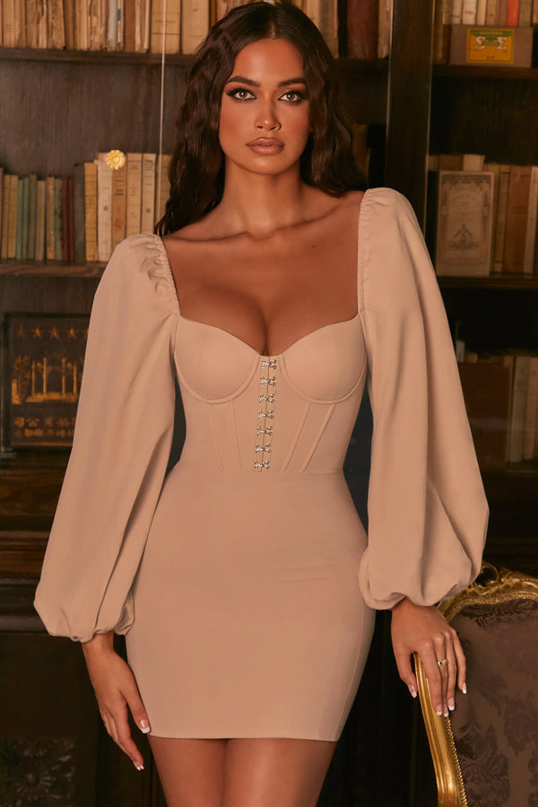 Balloon Sleeve Sweetheart Hook & Eye Bodycon Mini Corset Dress - Light Khaki