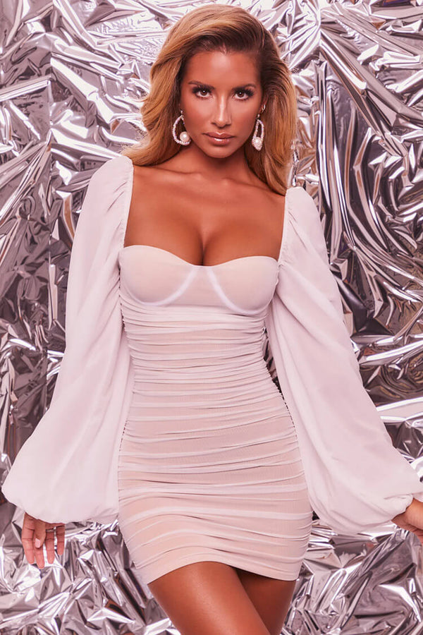 Balloon Sleeve Sweetheart Neck Ruched Bodycon Mini Dress - White