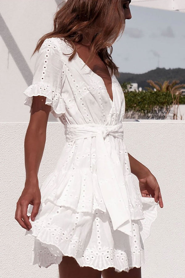 Belted Layered Ruffle V Neck Broderie Anglaise Mini Dress - White