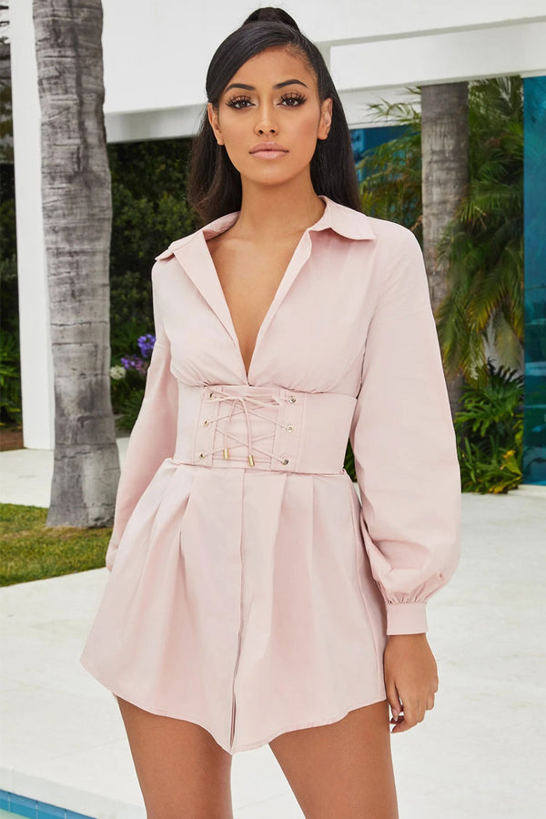 Belted Long Sleeve Collared Button Down Mini Shirt Dress - Pink