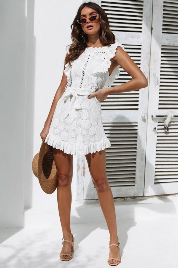 Belted Ruffle Broderie Trim Crew Neck Little White Dress - White