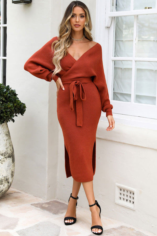 Belted Slit Side Wrap Winter Midi Sweater Dress - Red