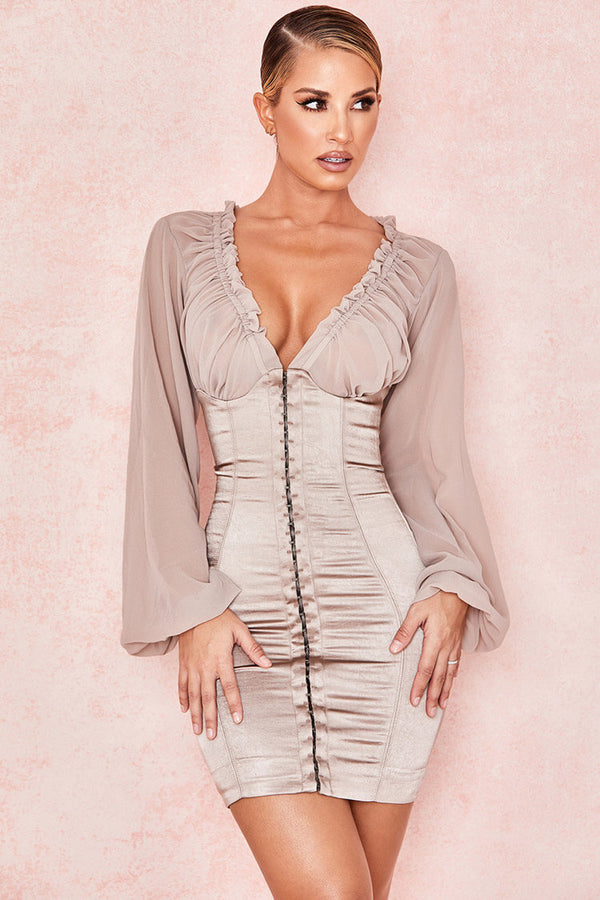 Bishop Sleeve Deep V Hooked Bodycon Satin Mini Dress - Gray