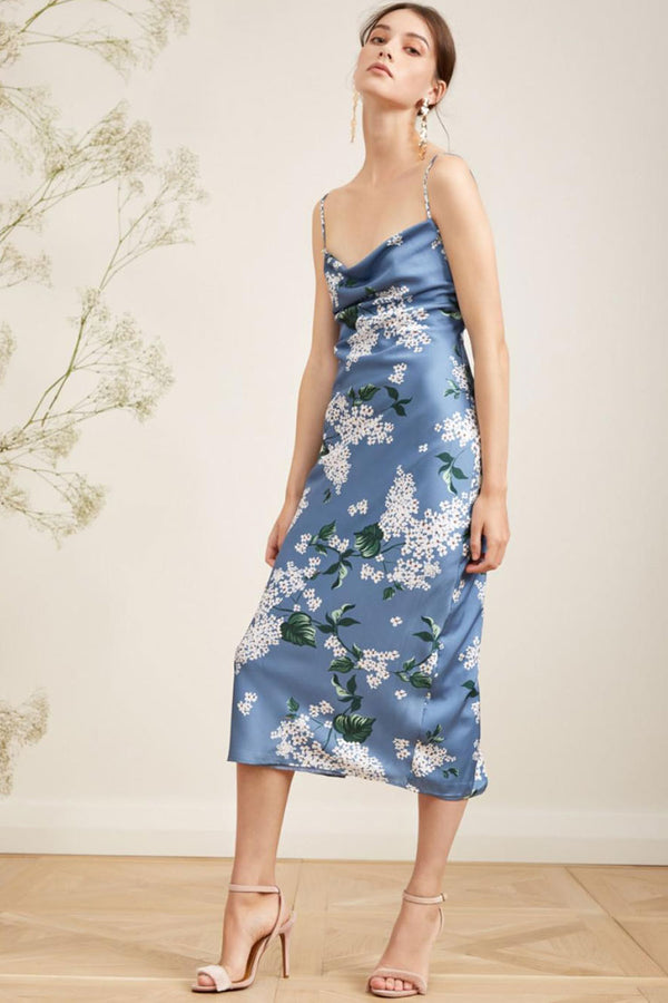 Bloom Floral Cowl Neck Slit Back Satin Slip Midi Dress - Blue