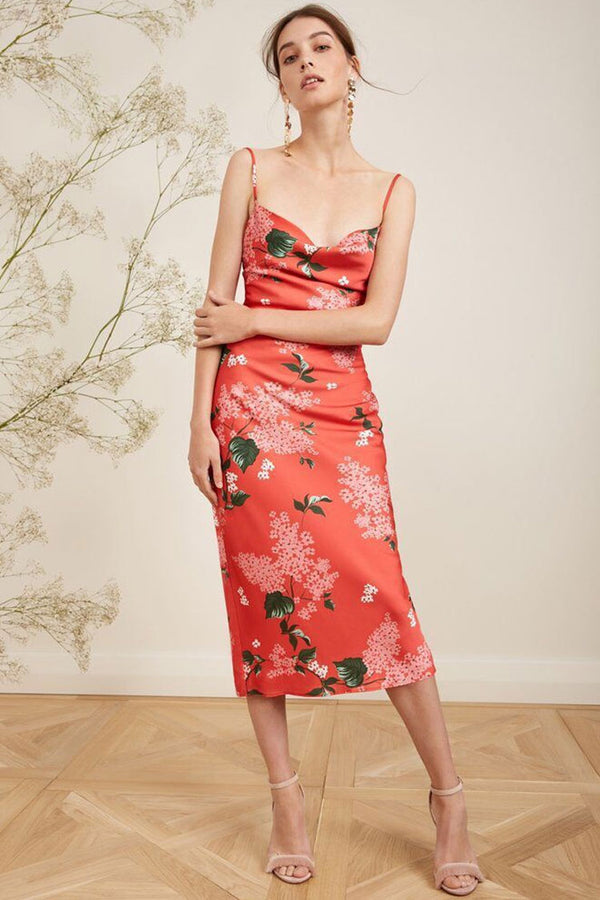 Bloom Floral Cowl Neck Slit Back Satin Slip Midi Dress - Burnt Orange