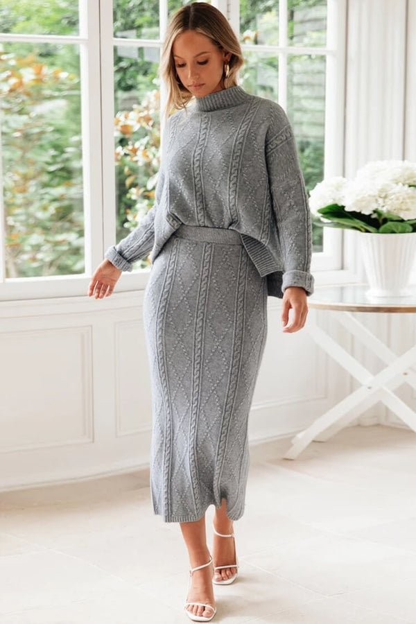 Cable Knit Long Sleeve High Neck Winter Sweater Two Piece Dress - Gray