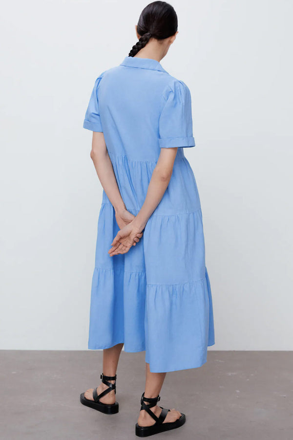 Casual Short Sleeve Collared Tiered Midi Shirt Dress - Blue