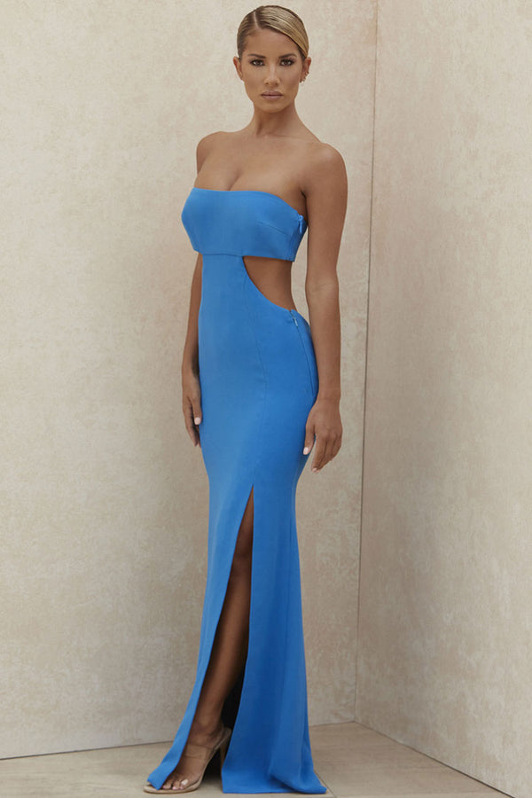 Charming Strapless Cut Out High Slit Maxi Prom Formal Dress - Blue