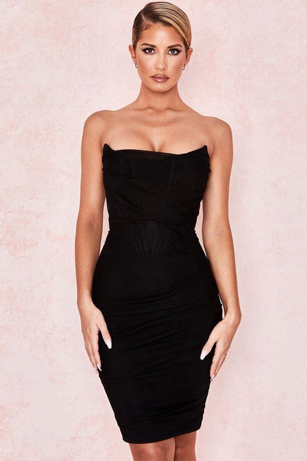 Chic Ruched Strapless Mini Corset Cocktail Party Dress - Black