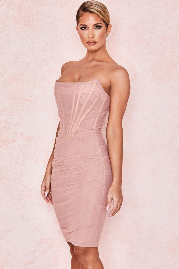 Chic Ruched Strapless Mini Corset Cocktail Party Dress - Pink