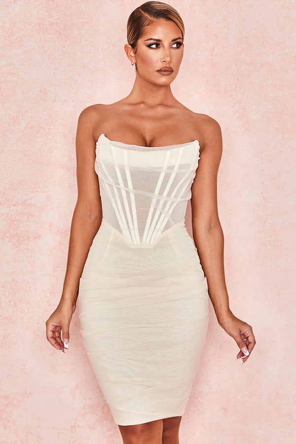 Chic Ruched Strapless Mini Corset Cocktail Party Dress - White