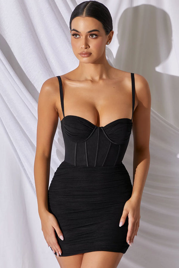 Classic Ruched Bodycon Mesh Mini Corset Dress - Black