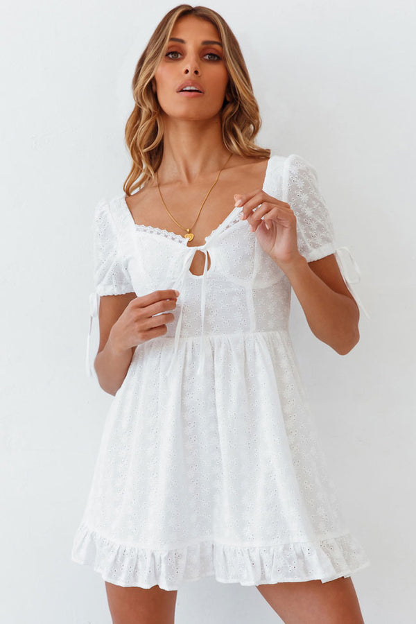 Cute Short Sleeve Broderie Anglaise Mini Little White Dress - White