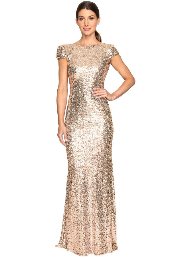 Dazzling Draped Backless Cap Sleeve Maxi Evening Dress - Gold