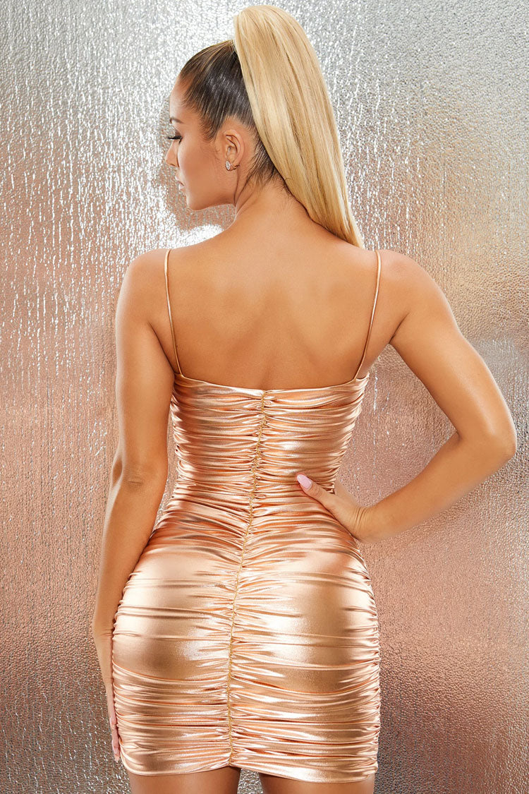 Dazzling Metallic Ruched Bodycon Mini Cocktail Party Dress - Gold